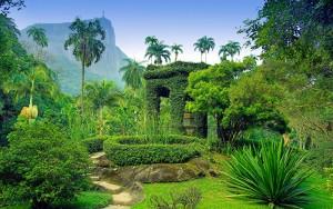 Tropical vegetation covers a pagoda at the Botanical Gardens in Rio De Janeiro Brazil